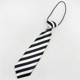 Stribet hvidt slips til børn