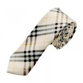 Mønstret hvidt slips med lyseblå tern