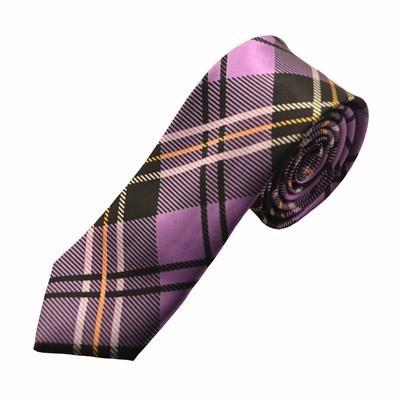Mønstret mørkelilla slips
