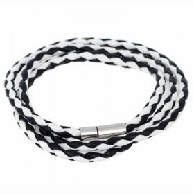 Sort og hvidt læderarmbånd