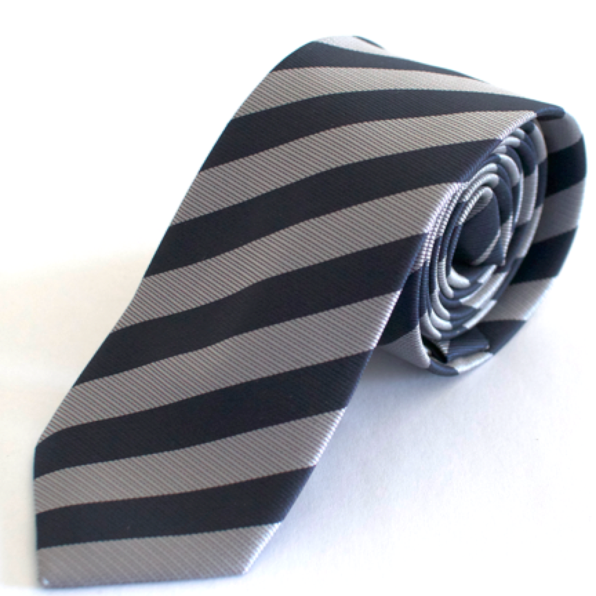 Sort silkeslips med grå striber