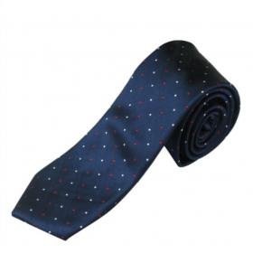 Mørkeblåt silkeslips med prikker