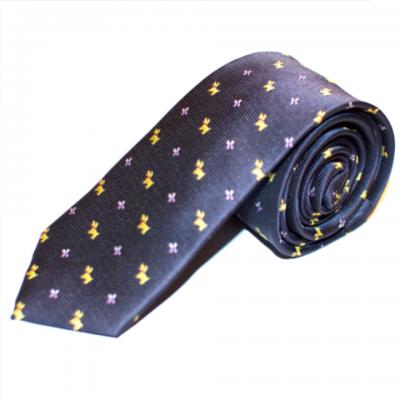 Mørkeblåt silkeslips med gyldne hunde
