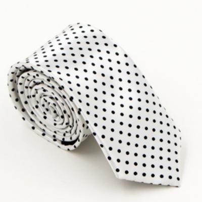 Hvidt slips med sorte prikker